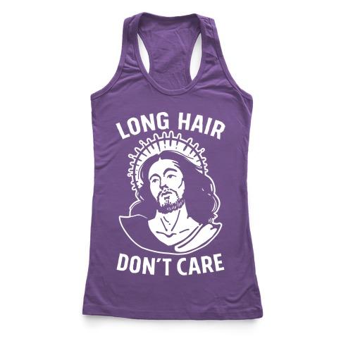 Long Hair Don't Care Jesus Racerback Tank Top