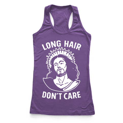 Long Hair Don't Care Jesus Racerback Tank Top