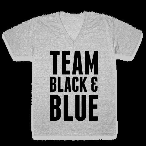 Team Black and Blue V-Neck Tee Shirt