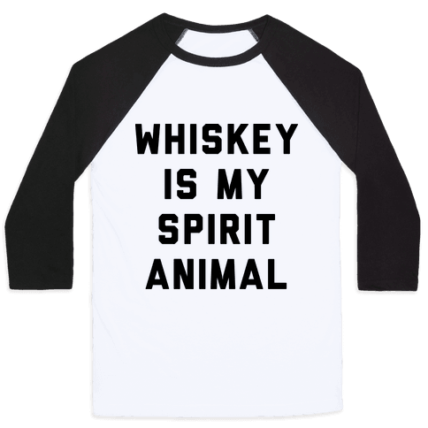 Whiskey Is My Spirit Animal Baseball Tee