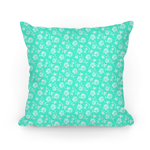 Pretty Little White and Aqua Flowers Pattern Pillow