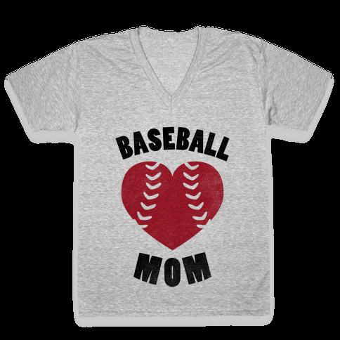 Baseball Mom (Baseball Tee) V-Neck Tee Shirt