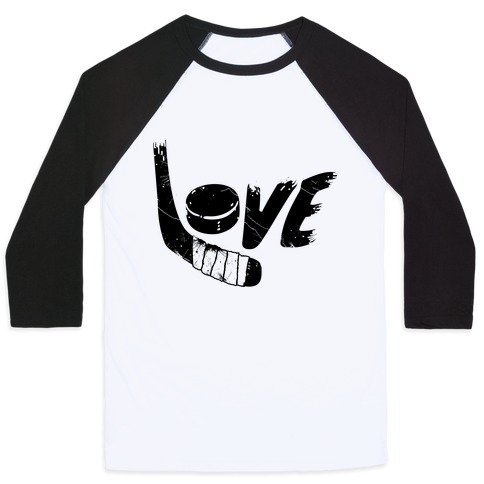 Love Hockey (Distressed) Baseball Tee