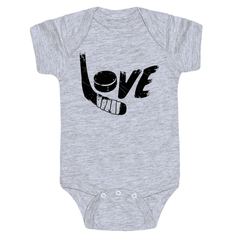 Love Hockey (Distressed)  Baby Onesy