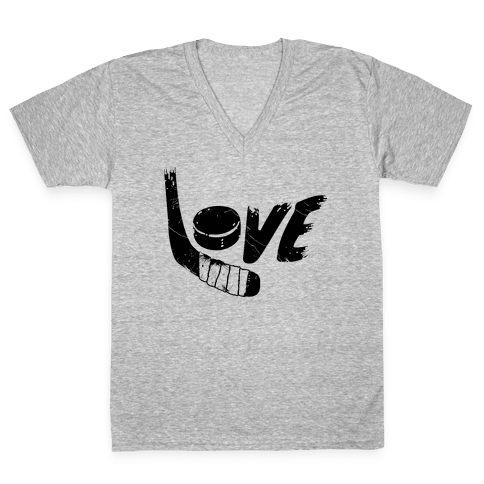 Love Hockey (Distressed)  V-Neck Tee Shirt