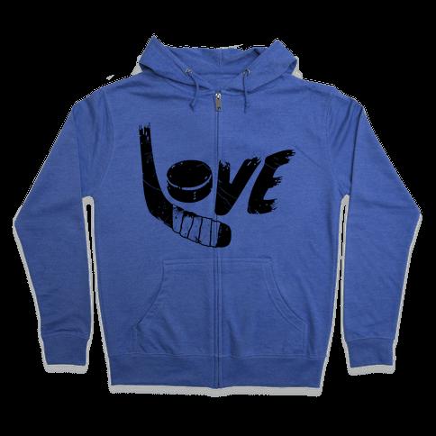 Love Hockey (Distressed)  Zip Hoodie