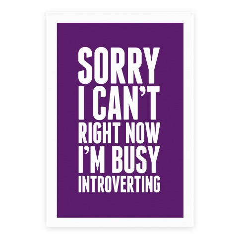 Sorry I Can't Right Now I'm Busy Introverting Poster