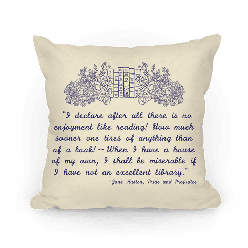 Pride and Prejudice Book Quote Pillow