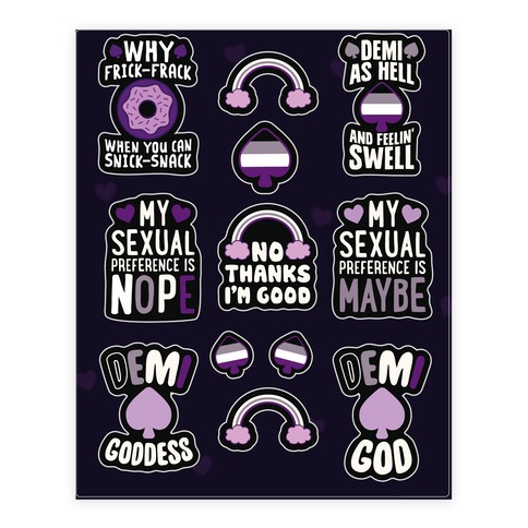 Asexual and Demisexual Sticker and Decal Sheet