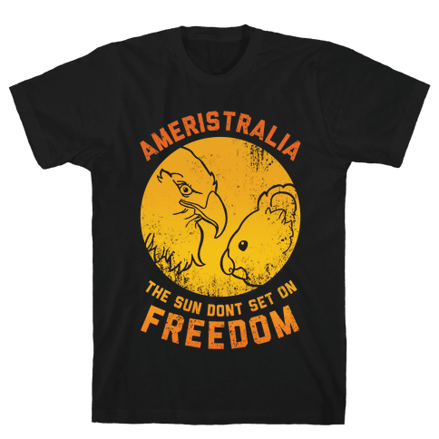 The Sun Don't Set On Freedom (Gold Ameristralia) Mens T-Shirt