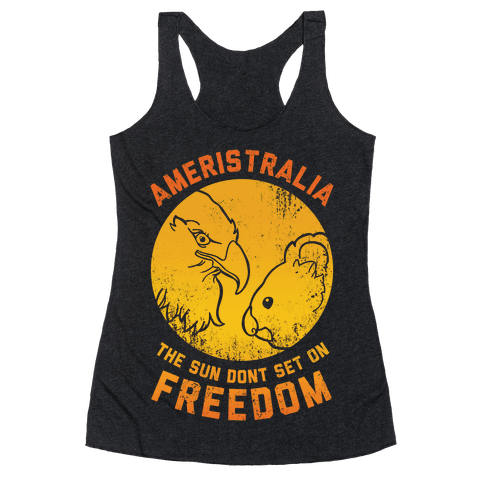 The Sun Don't Set On Freedom (Gold Ameristralia) Racerback Tank Top