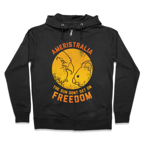 The Sun Don't Set On Freedom (Gold Ameristralia) Zip Hoodie