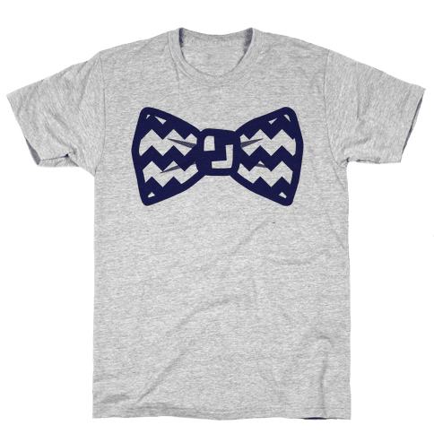 Navy Blue Chevron Bow Tie Mens T-Shirt