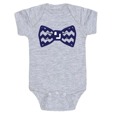 Navy Blue Chevron Bow Tie Baby Onesy