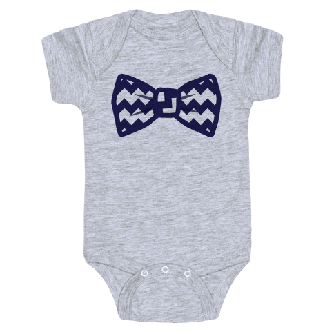 Navy Blue Chevron Bow Tie Baby Onesy