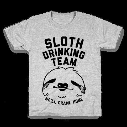 Sloth Drinking Team Kids T-Shirt