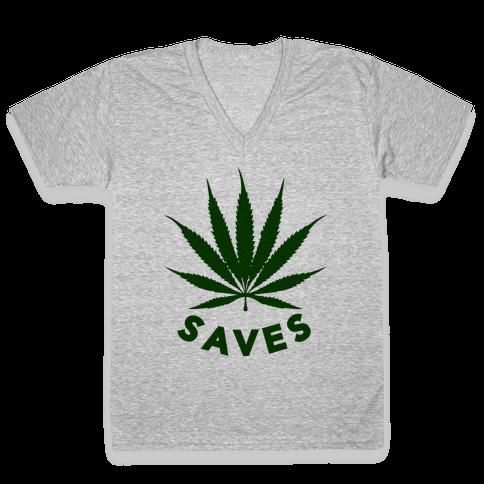 Weed Saves V-Neck Tee Shirt