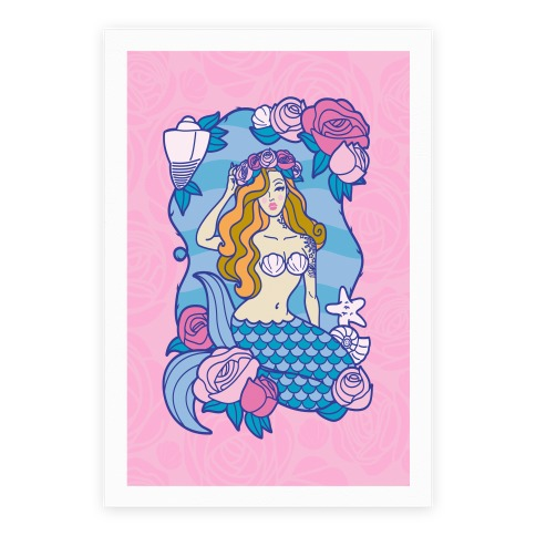 Nautical Tattoo Mermaid Poster