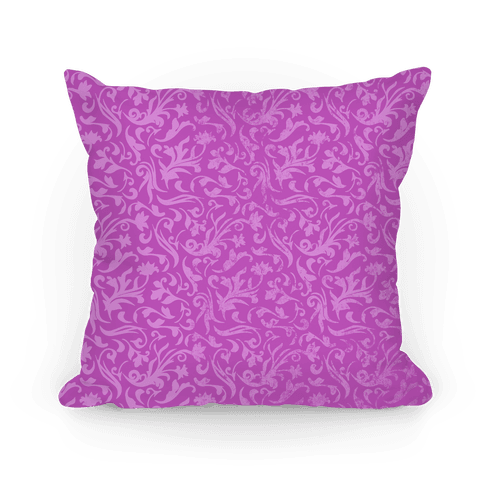 Purple Medieval Flower Pattern Pillow