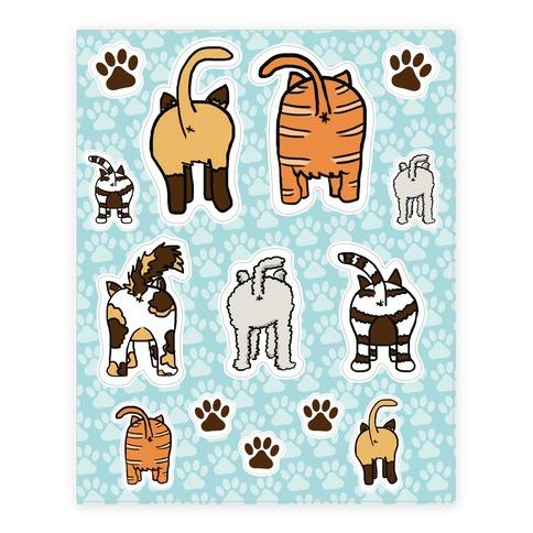 Cat Butt  Sticker and Decal Sheet