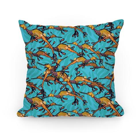 Weedy Sea Dragon Nautical Pattern Pillow