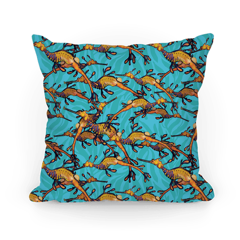 Weedy Sea Dragon Nautical Pattern Pillow