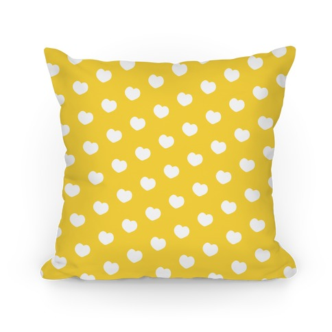 Yellow Polka Dot Hearts Pillow