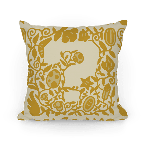 Floral Question Block Pillow