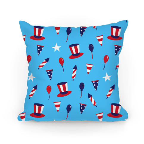 Red White and Blue Pattern Pillow