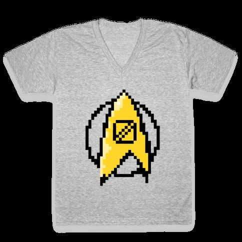 Star Trek: 8 Bit-Science V-Neck Tee Shirt