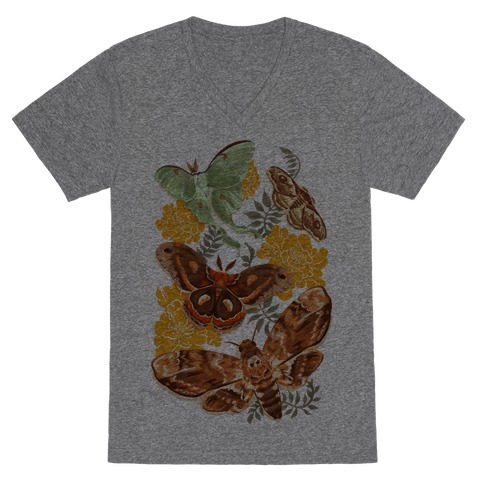 Moths & Marigolds V-Neck Tee Shirt