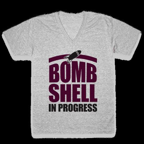 Bombshell In Progress V-Neck Tee Shirt