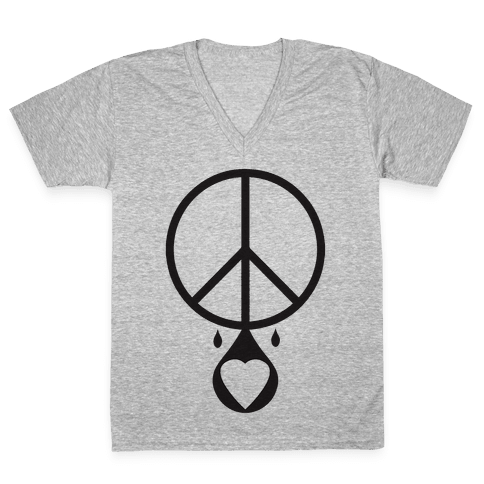 Peace dripping Love V-Neck Tee Shirt