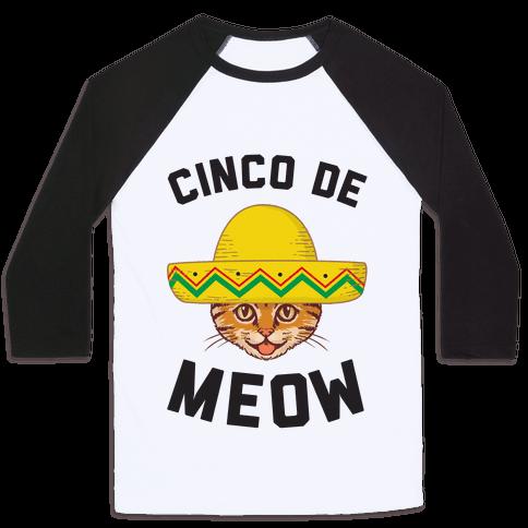 Cinco De Meow Baseball Tee