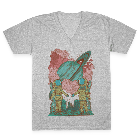 The Lovers in Space V-Neck Tee Shirt