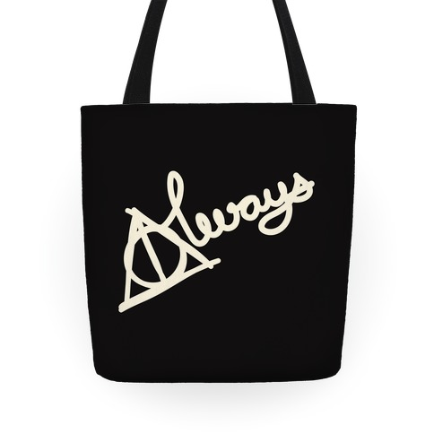 Hallows Always (White on Black) Tote