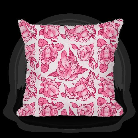 Floral Penis Pattern Pink Throw Pillow HUMAN