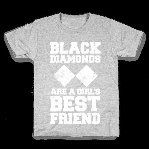 Black Diamonds Are A Girl's Best Friend (White Ink) Kids T-Shirt