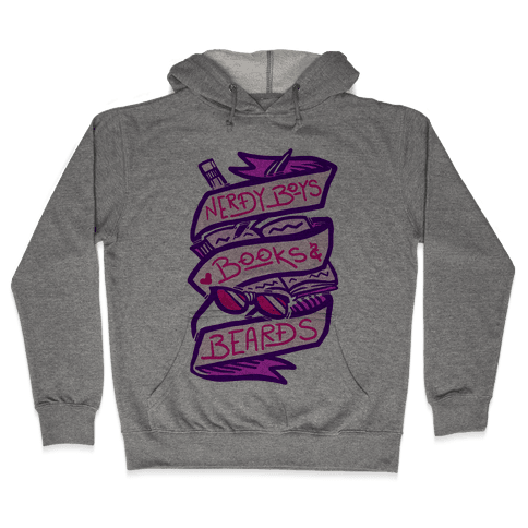 Nerdy Boys Books And Beards Hooded Sweatshirt