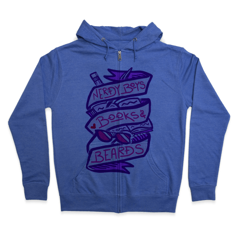Nerdy Boys Books And Beards Zip Hoodie
