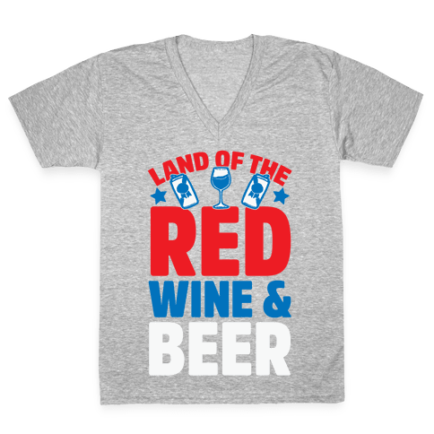 Land Of The Red Wine & Beer V-Neck Tee Shirt