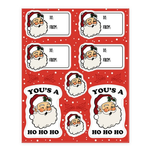Ho Ho Ho Santa Gift Tag Sticker and Decal Sheet