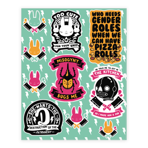 Cute But Deadly Feminist  Sticker/Decal Sheet