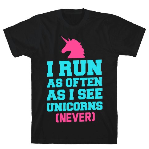I Workout as Often as I See Unicorns Mens T-Shirt