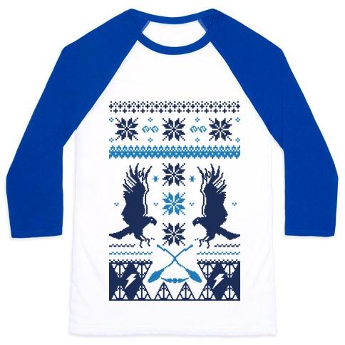 Hogwarts Ugly Christmas Sweater: Ravenclaw Baseball Tee