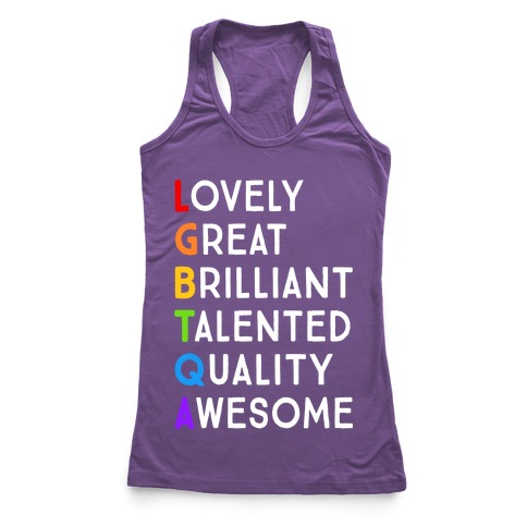 LGBTQA Meanings Racerback Tank Top