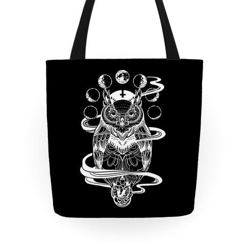 Witch's Owl Under the Phases of the Moon Tote