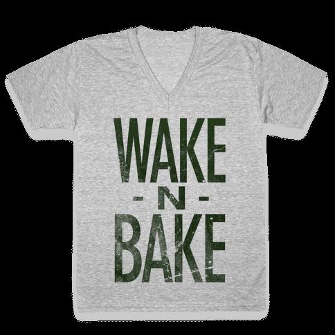 Wake -N- Bake V-Neck Tee Shirt