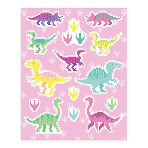 Cute Pastel Pixel Dinosaur Sticker and Decal Sheet