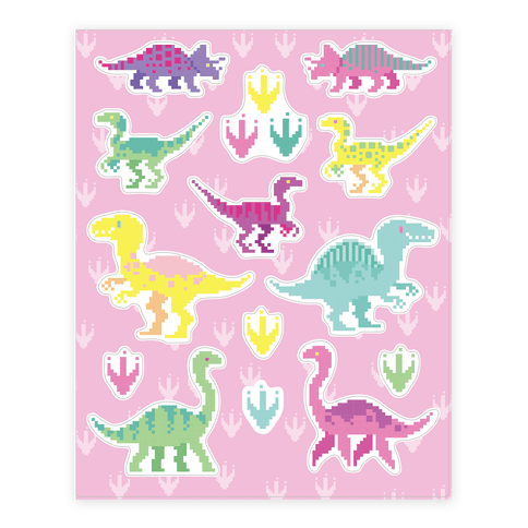 Cute Pastel Pixel Dinosaur  Sticker/Decal Sheet